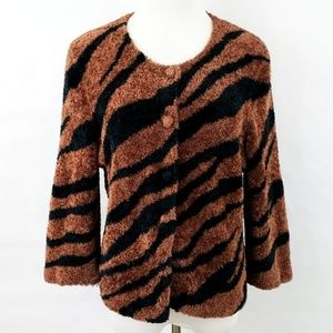 Michael Simon Animal Print Teddy Bear Sweater